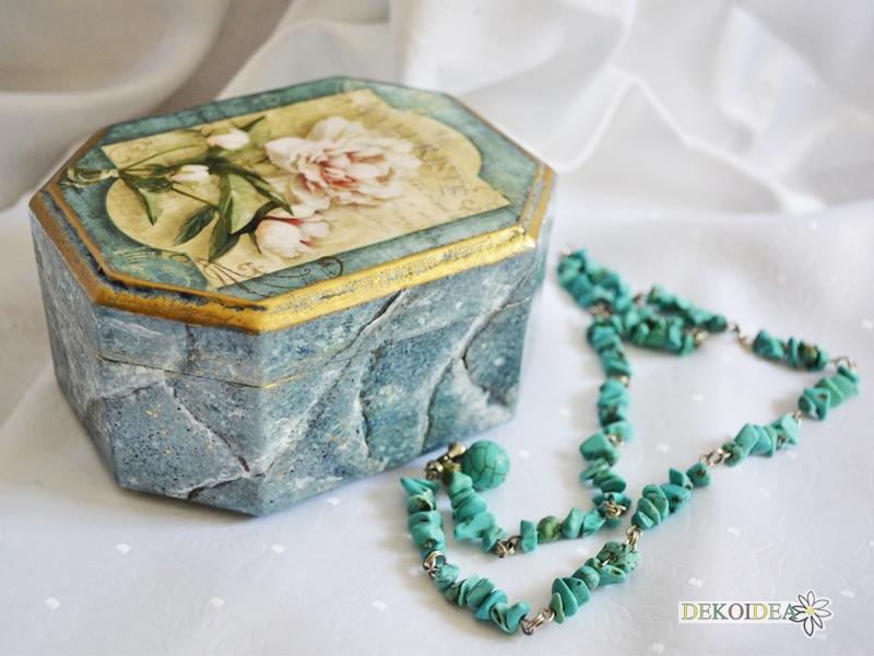 кутия за бижута тюркоазен мрамор