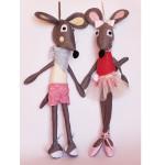 Мишок и Мишка Балеринка сиви - парцалени кукли