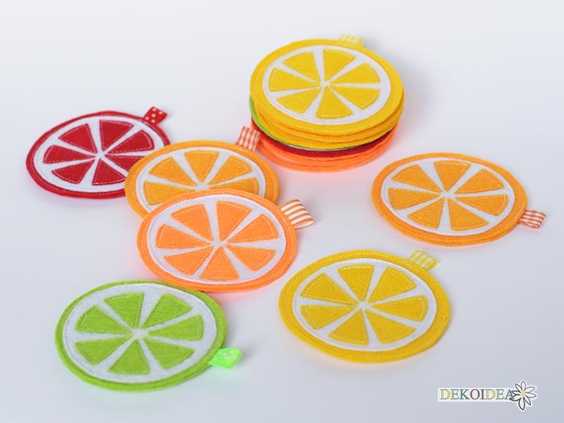 Комплект Подложки за чаши - Цитрусови шайби