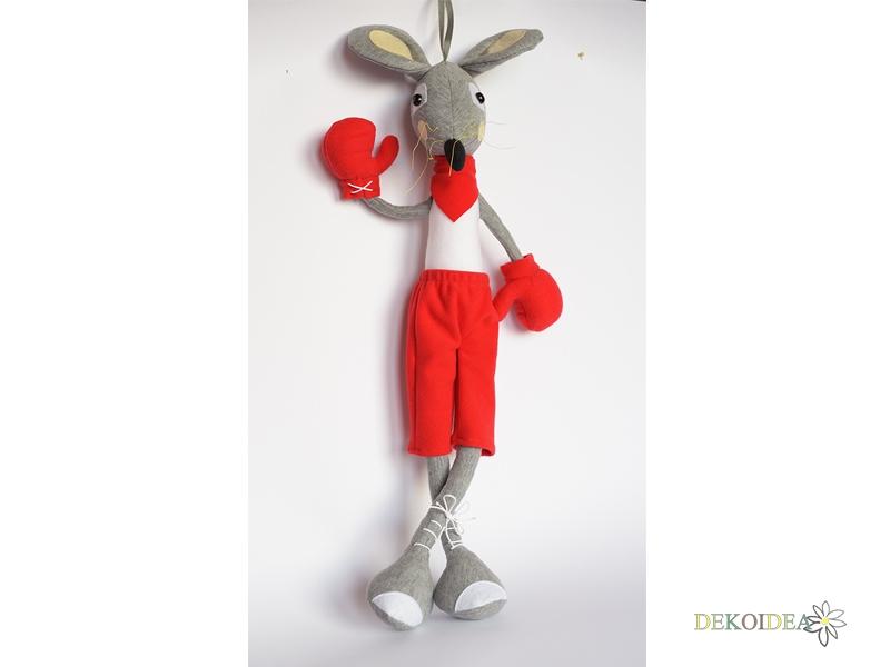 Мишок- Боксьор - мека играчка, парцалена кукла