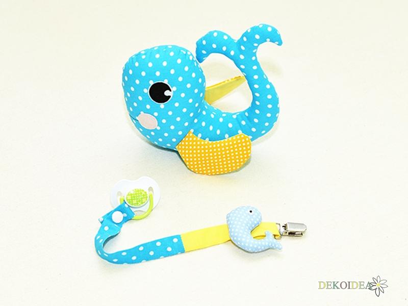 Комплект Мека играчка Китче и Лента за биберон в синьо