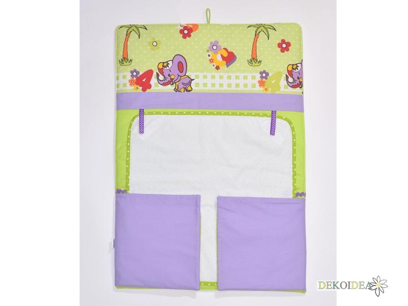 Сгъваем Бебешки Повивалник със Слончета в зелено и лилаво